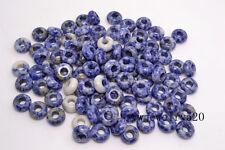 FREE Lots 50ps Blue gemstone Round Loose Beads 5mm Hole Fit European Bracelet