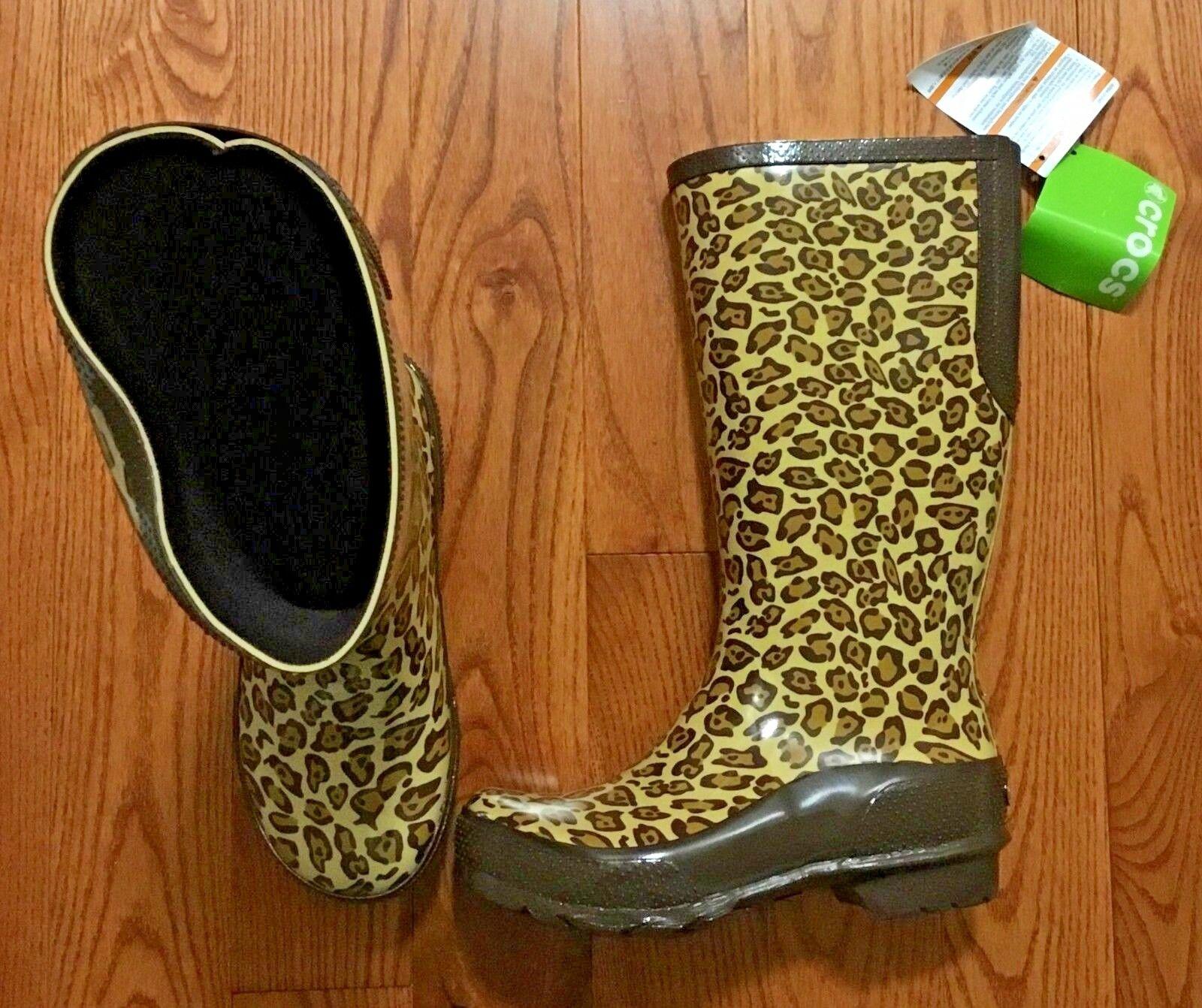 Crocs Cheetah Impreso Impreso Impreso botas De Lluvia Talla 7 Nuevo con etiquetas  primera reputación de los clientes primero