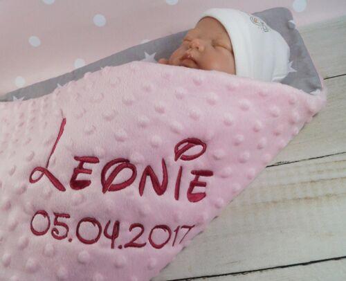 coton * Double Couverture Minky * 75 x 100 CM babydecke avec nom