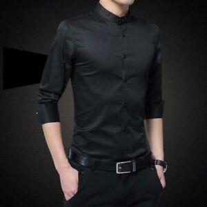 Shirt-Stylish-Dress-Shirts-Luxury-Tops-Business-Men-039-s-Casual-Slim-Fit-Fashion
