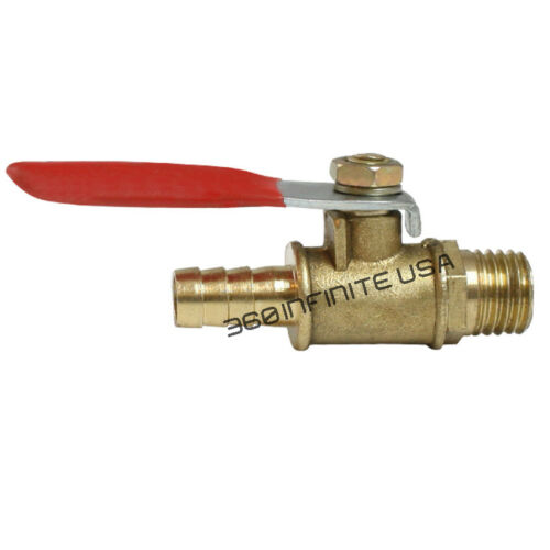 1//4 NPT x 3//8 Heavy Duty Brass Ball Valve Thread Male to Male Barb