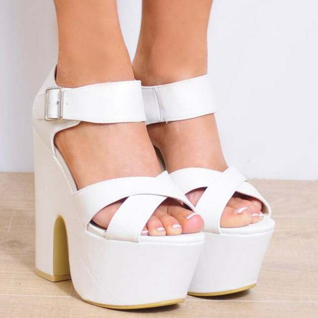WHITE LEATHER CHUNKY WEDGED PLATFORMS WEDGES ANKLE STRAP CUFF STRAPPY HIGH HEELS