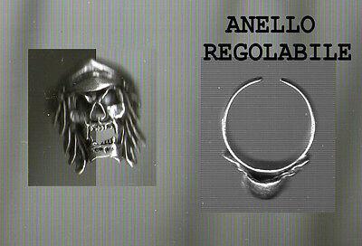 ANELLO TESCHIO SKULL REGOLABILE  trendy bellissimo anello con teschi ring skull