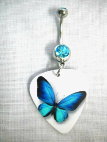 NEW BLUE TWO TONE BUTTERFLY PRINT GUITAR PICK on 14g BLUE CZ BELLY RING BARBELL