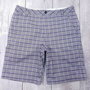PUma-Tech-Golf-Shorts-Mens-34-Purple-Plaid-DryCell-Performance-Stretch-SH112