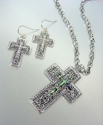 CLASSIC Designer Silver Filigree Mother of Pearl Shell Cross Necklace Set