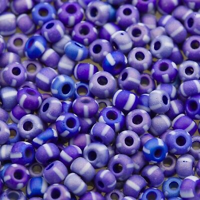 Czech Seed Beads E Beads 6//0 Frosted Purple w// White Stripes 15g 10101019