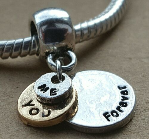 ME /& YOU FOREVER Rose Gold 2 Toned Love Words European Bead Charm GIFT FOR HER