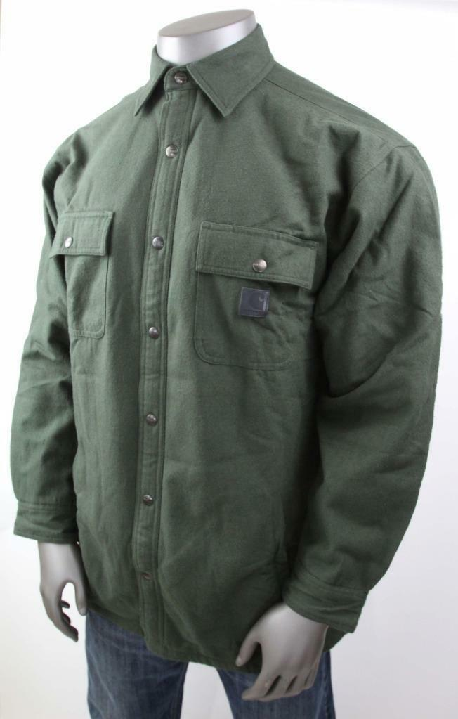 CARHARTT SHIRT JAC Large Chore Quilt Lined Work Original Fit Green