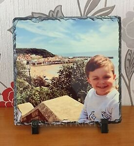 Personalised-LARGE-square-rock-slate-photo-20cm-x-20cm-with-free-stands