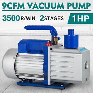 Details about 9CFM 2 Stages Vacuum Pump 1HP Air Conditioning R22 R410a Oil  capacity R12 R134a
