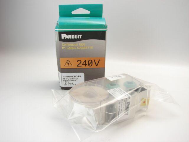 Panduit T100X000CBC BK Continuous Tape P1 Label Cassette Black On White T67