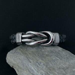 Leder-Biker-Herren-Damen-Armband-Kette-Edelstahl-Wikinger-Knoten-Geflochten