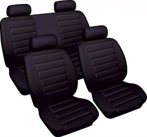 BLACK-CAR-SEAT-COVER-SET-LEATHER-LOOK-FRONT-amp-REAR-TOYOTA-YARIS-1999-gt-2004