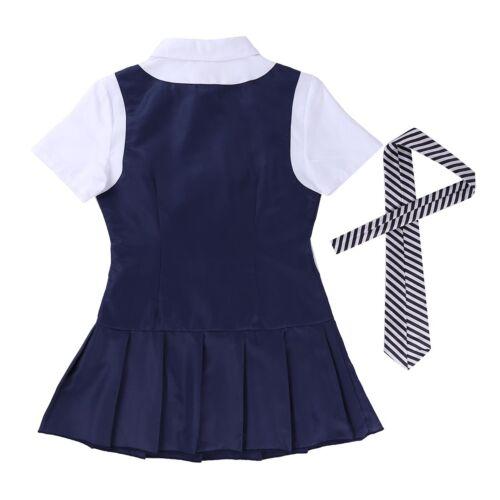 Cosplay Womens Schoolgirl Students Sailor Uniform Anime Costume Mini Plaid Skirt