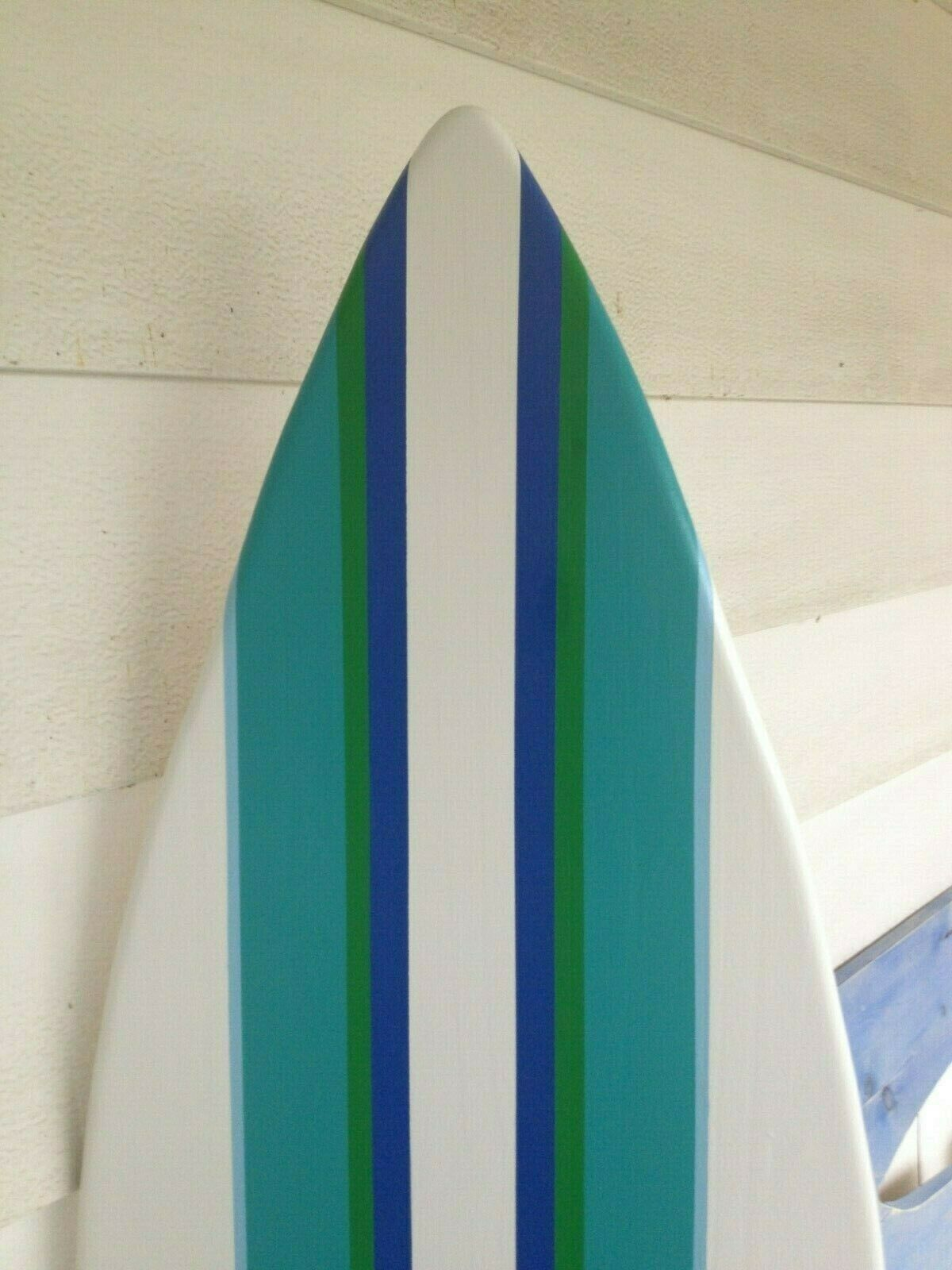6 Foot Wood Surfboard wall art handpainted with multi stripes