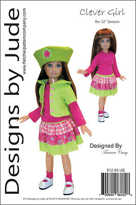 "Clever Girl Doll Clothes Sewing Pattern for 12/"" Bethany Kish Dolls"