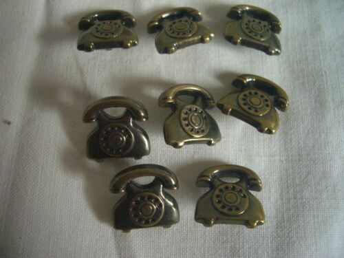 VINTAGE TELEPHONE SHAPED BRASS EFFECT  BUTTONS x 8  FREE P/&P
