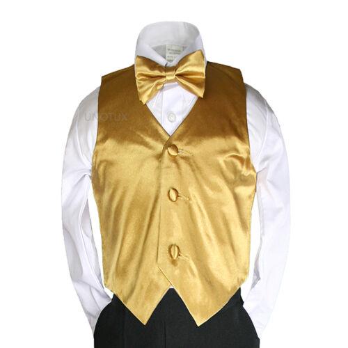 Baby Boy Toddler 4 Tuxedo Suit Sm-7 New 2pc 23 Color Satin Bow tie Vest Set