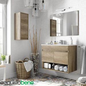 Kit Mobile Bagno Sospeso Con 2 Ante E Vano A Giorno Completo Di Specchio E Lavab Ebay