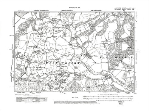 East Wellow Old Map Hampshire 1911: 56NW N West Wellow