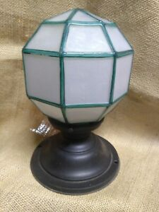 Antique-Arts-amp-Crafts-Porch-Light-Fixture-Frosted-Globe-Mission-Deco-Brass-U-Y