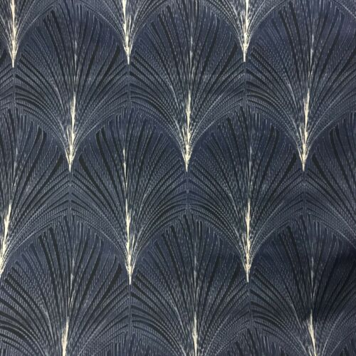 """Art Deco FOUNTAIN SMD Geometric Floral Cotton Fabric Curtain 4m Pieces 54""""NAVY"""