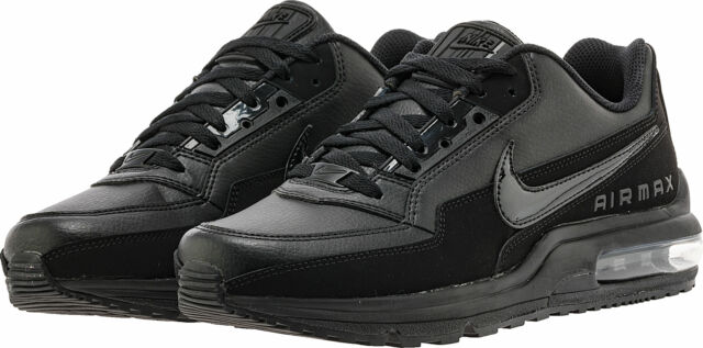 8c3e36b1069c Nike Air Max Ltd 3 Mens 687977-020 Triple Black Leather Running ...