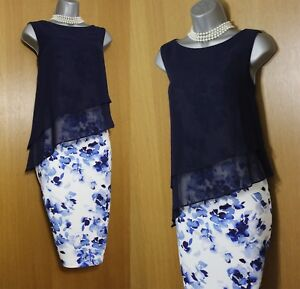 Jacques-Vert-Navy-Floral-Print-Sheer-Layered-Race-Party-Cocktail-Dress-UK10-139