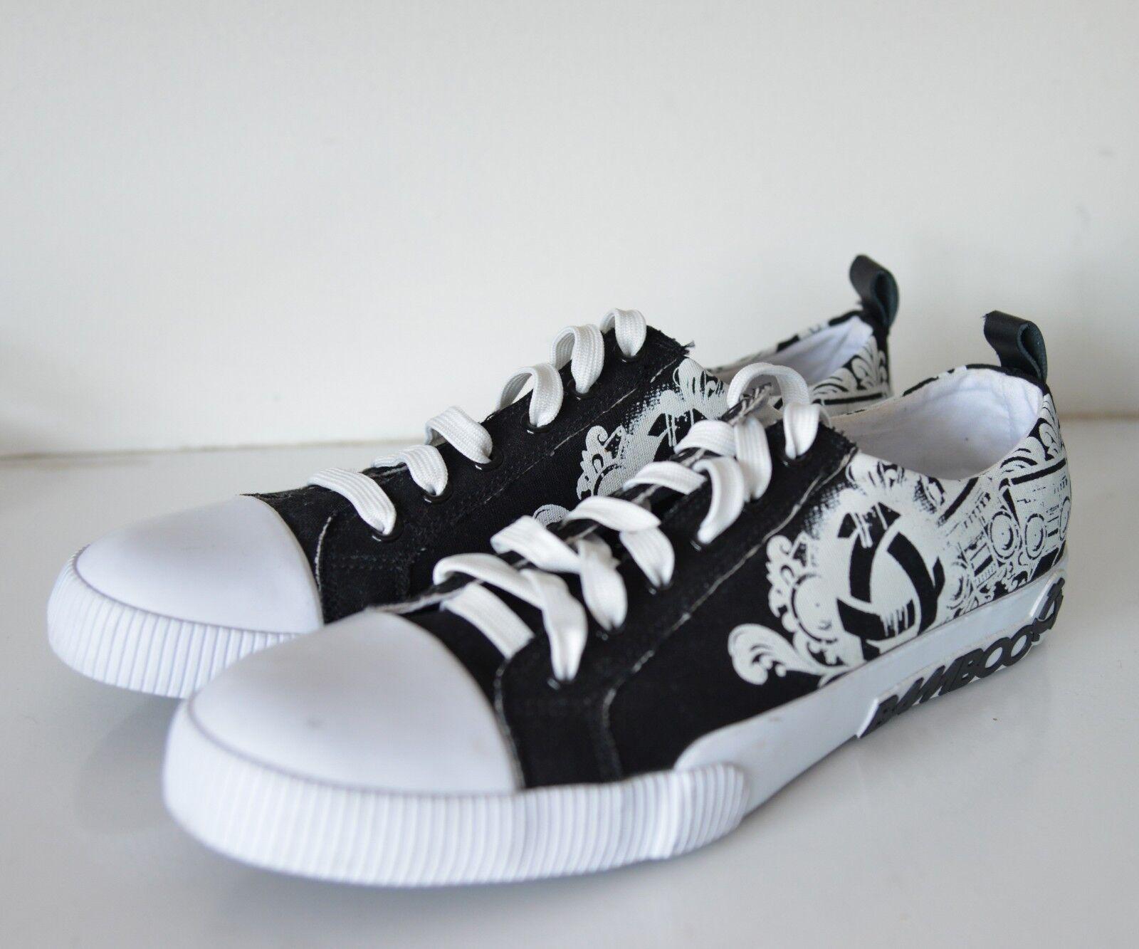 Bamboo Premium Kudo Homme Noir Blanc Imprime Toile Baskets Chaussures Baskets UK 8