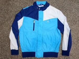 Mens-Enyce-Windbreaker-Full-Zip-Sz-L-White-Blues-100-Nylon-Shell-Mesh
