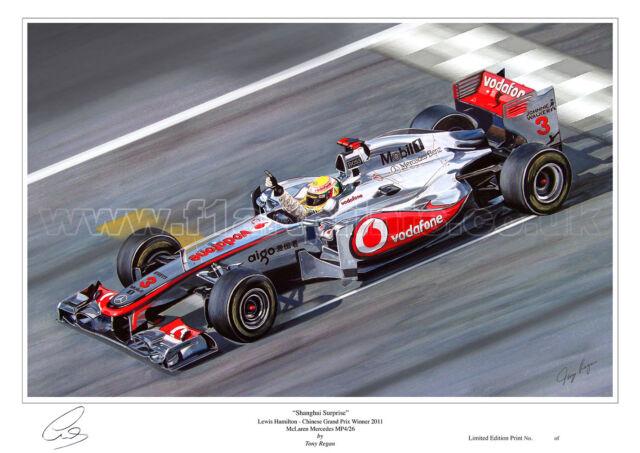 Lewis Hamilton McLaren Limited Edition F1 Art Print Large A2 Size |