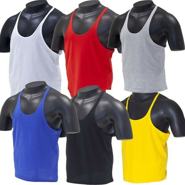 Muscle TankTop Singlet Y-Back Stringer Mens Bodybuilding vest, racerback Golds