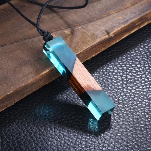 Zauberwald Harz Holz Anhänger Farbig Frauen Männer Seil Kette Halskette