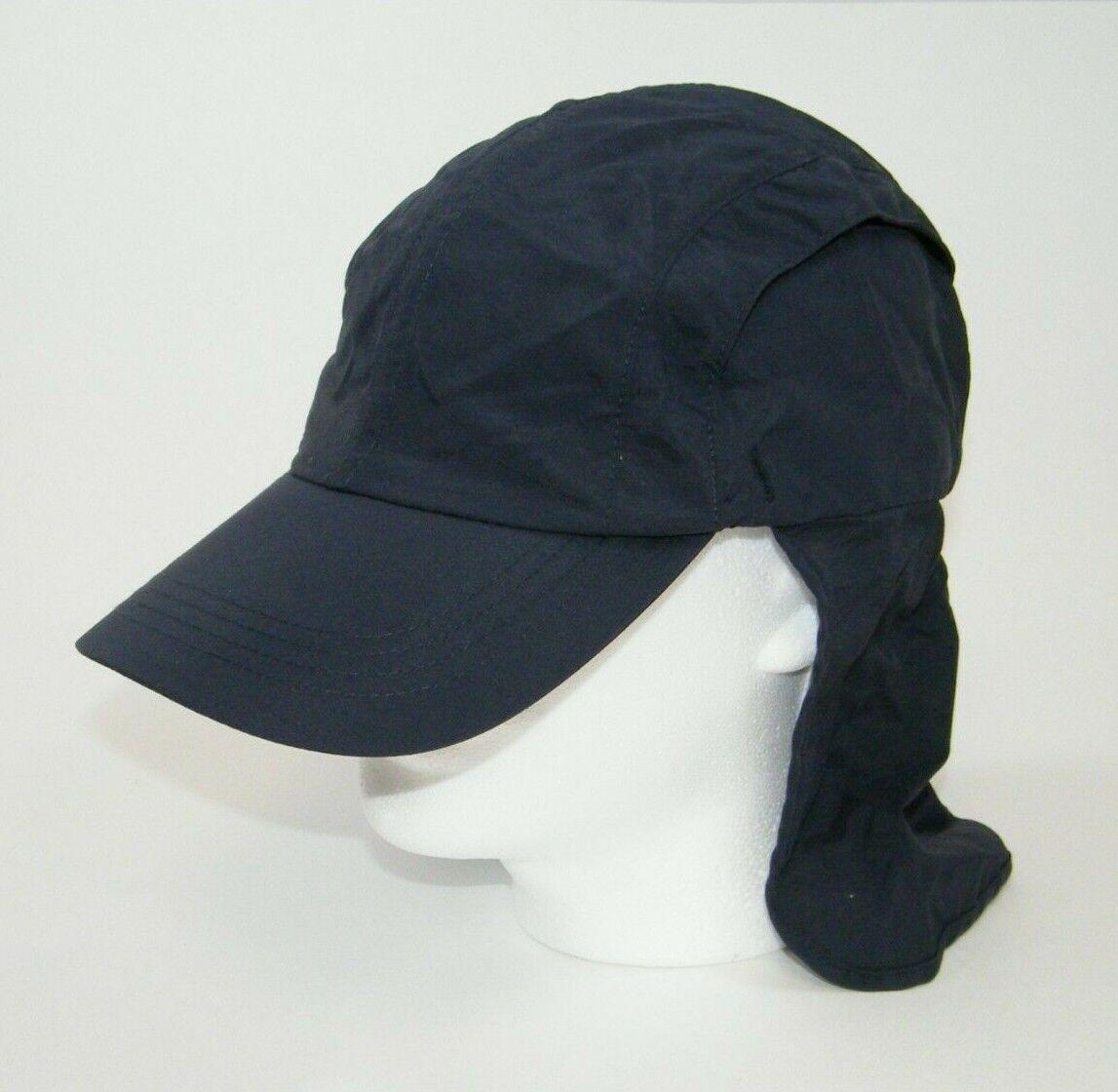 (5) FAHRENHEIT OUTDOOR COLLECTION NYLON CAPS / HATS 682 W / NECK FLAPS NAVY BLUE