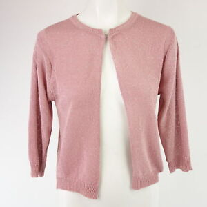 V-Milano-mujer-chaqueta-de-punto-Talla-Unica-Rosa-Algodon-Lurex-NP-64-NUEVO