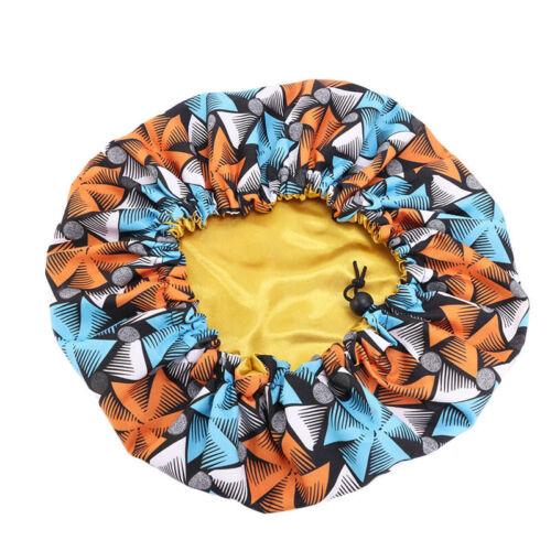 Kinder Verstellbar Groß Schlaf Kappe Afrikanisch Batik-Aufdruck Satin Haar Haube