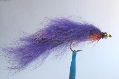 10 x Mouche de Peche Streamer Zonker Violet BILLE H8//10//12 alevin fly tying fly
