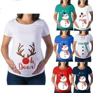 Pregnant-Women-Christmas-Maternity-T-shirt-Ladies-Xmas-Short-Sleeve-Tops-Blouses