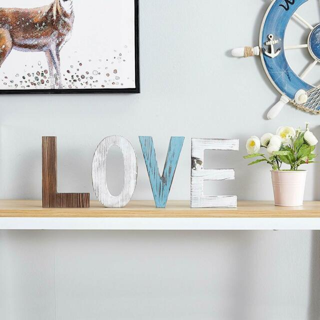 Xmas Gift 6 Decorative Sign Wood Cutout Letters Rustic Home Decor Shelf Love