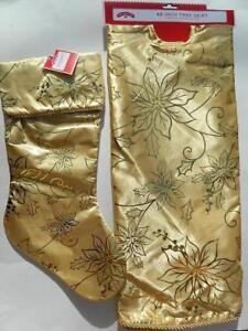 Gold Poinsettia Tree Skirt Matching Stocking Metallic