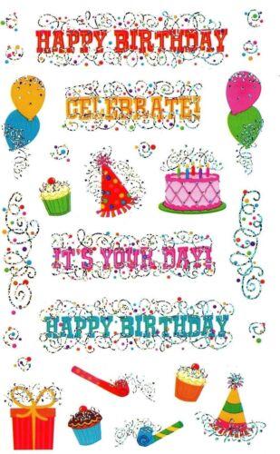 ~ Reflections Happy Birthday Party Balloons Cake Hats Mrs Grossman Sticker ~