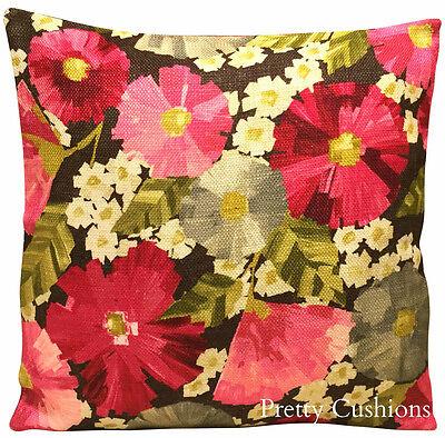 "Harlequin Hermosa Fuchsia & Slate Impasto Floral Cushion Cover 16"""