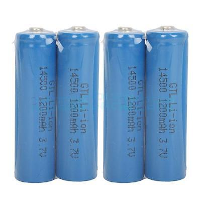 4 Pcs High Quality 1200MAH 3.7V 14500 AA Lithium Rechargeable Battery Blue UK