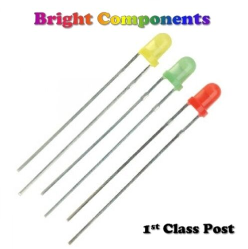 Green, Red, Yellow + Resistors 5//9//12v 30 x 3mm LED