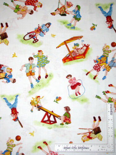 Yard Children Playing Swing Bike Wagon Toss Cotton Fabric Red Rooster Wee Play