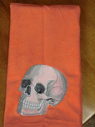 Embroidered Velour Hand Towel Orange Towel Skull Halloween