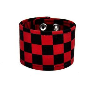 Image Is Loading Black Amp Red Checkered Canvas Fabric Wristband Bracelet