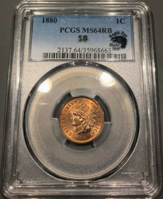 1880 Indian Head Cent PCGS MS 64 RB **Eagle Eye Photo Seal** Snow 8EARRING Red!