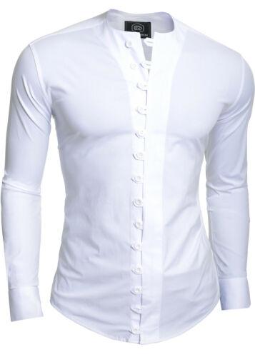Cuello redondo para hombre sin cuello de camisa informal Slim Fit Algodón Elástico bucles de Fitness